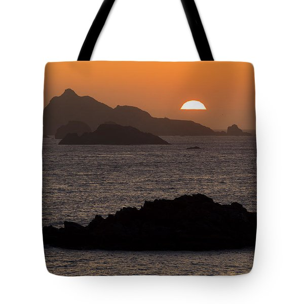 Crescent City Sunset From Battery Point Lighthouse Tote Bag by Joe Doherty
