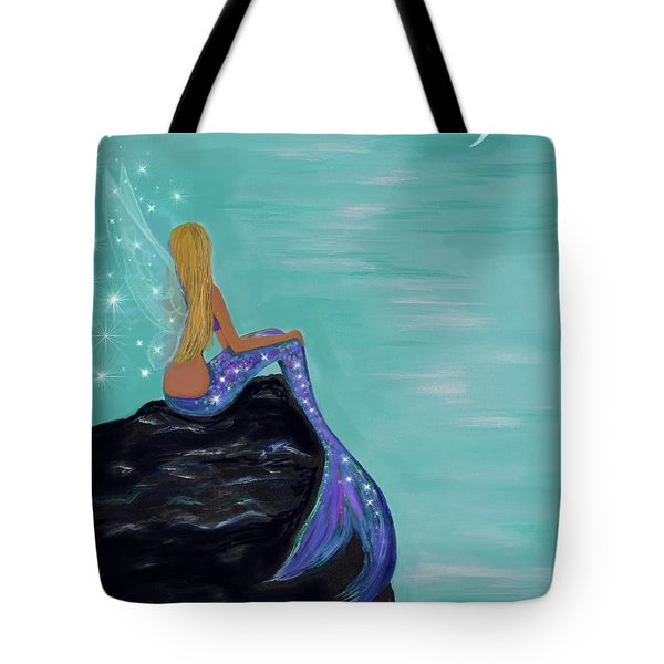 Tote Bag featuring the painting Crescent Mermaid Moon Fairy by Leslie Allen