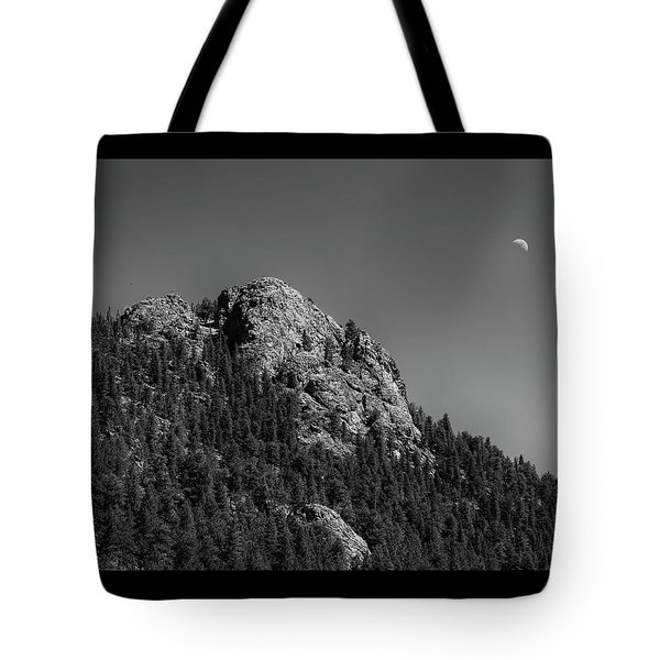 Tote Bag featuring the photograph Crescent Moon And Buffalo Rock by James BO Insogna
