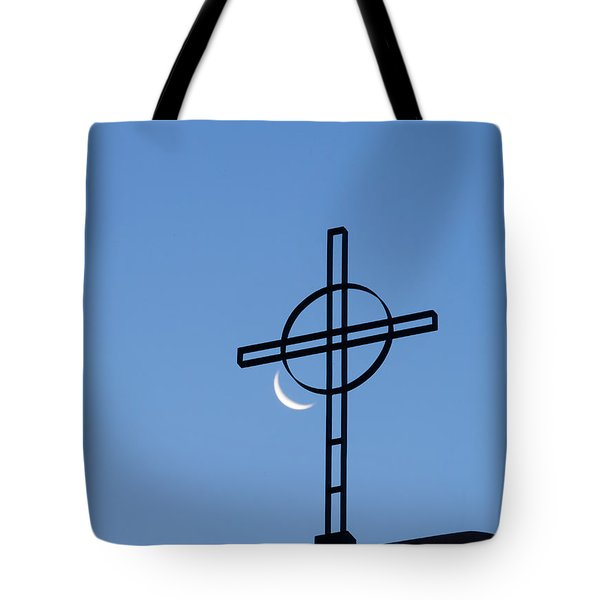 Crescent Moon And Cross Tote Bag