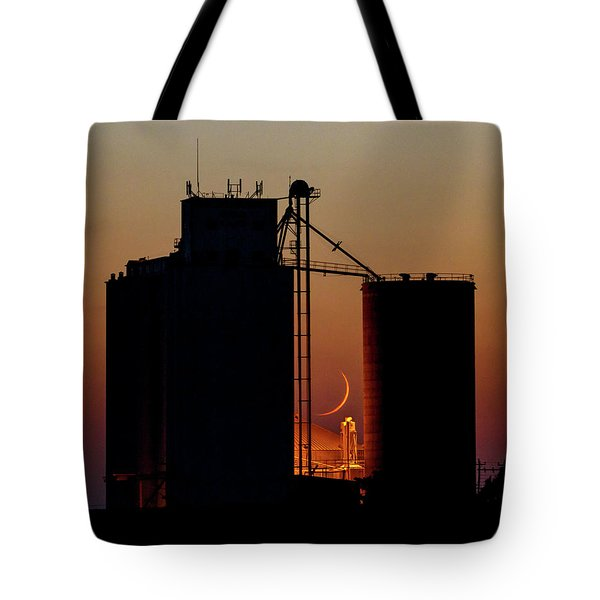 Tote Bag featuring the photograph Crescent Moon At Laird 08 by Rob Graham