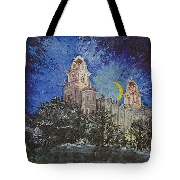 Tote Bag featuring the painting Crescent Moon by Jane Autry