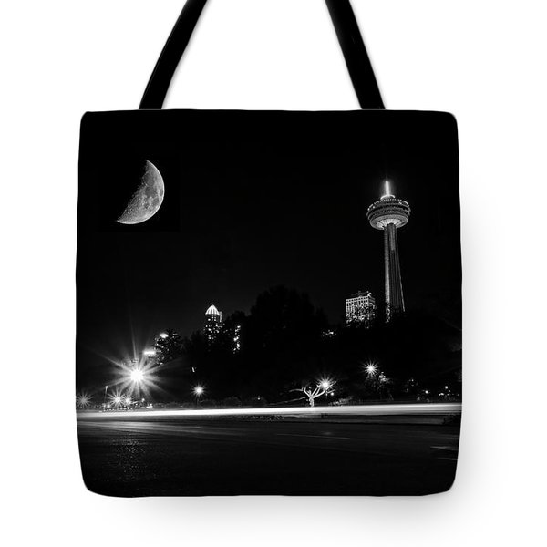 Crescent Moon Over Niagara Falls City Mono Tote Bag by Charline Xia