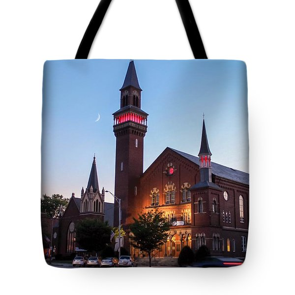 Tote Bag featuring the photograph Crescent Moon Over Old Town Hall by Sven Kielhorn