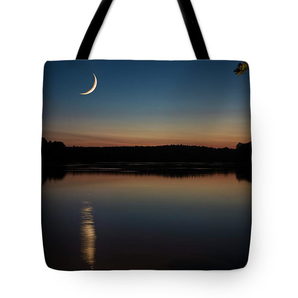Crescent Moon Set At Lake Chesdin Tote Bag