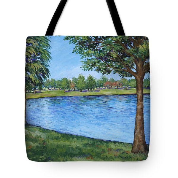 Tote Bag featuring the painting Crest Lake Park by Penny Birch-Williams