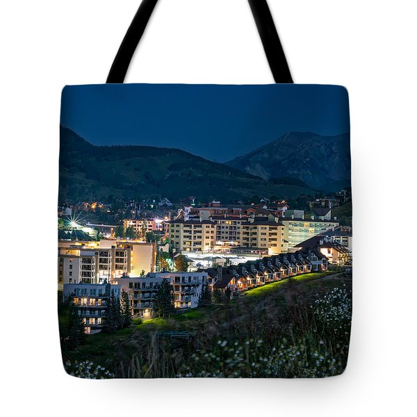 Crested Butte Village Under Full Moon Tote Bag
