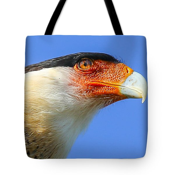 Crested Caracara Face Tote Bag