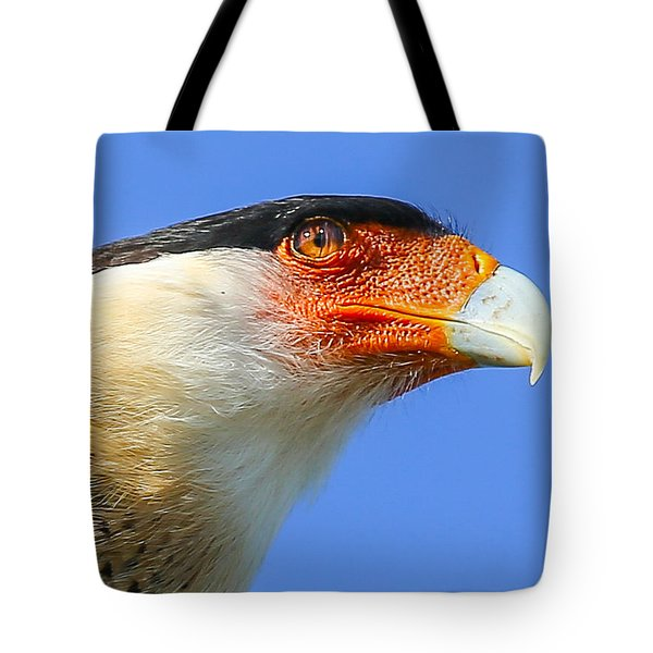 Crested Caracara Face Tote Bag