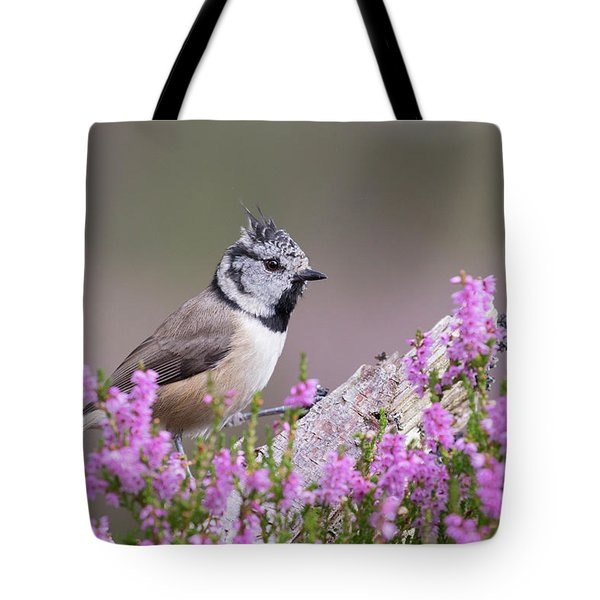 Tote Bag featuring the photograph Crested Tit In Heather by Karen Van Der Zijden