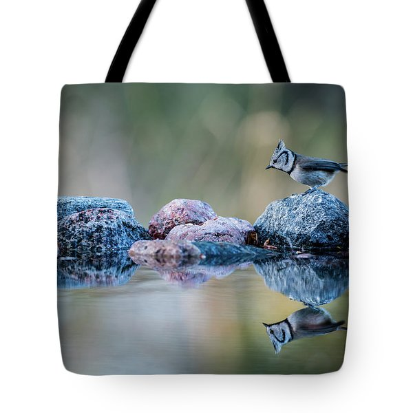 Crested Tit's Reflection Tote Bag