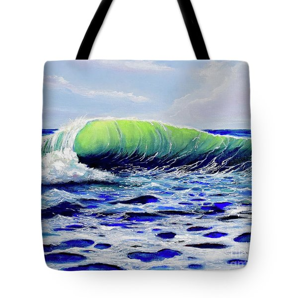 Tote Bag featuring the painting Cresting Wave by Mary Scott