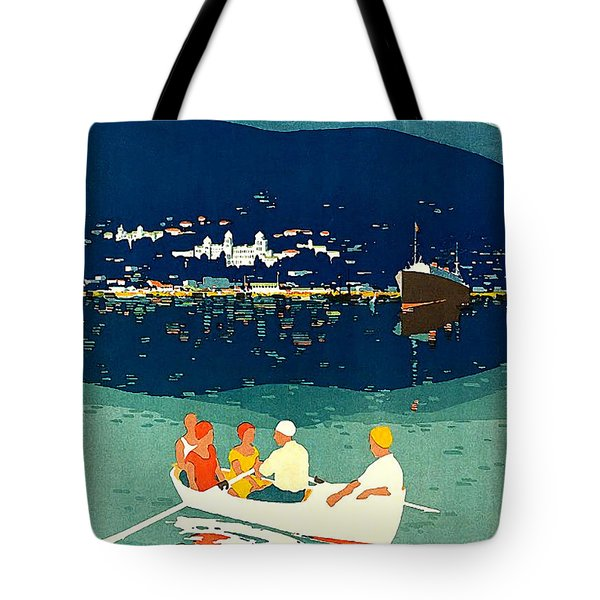 Crimea, Tourists On A Small Boat Tote Bag