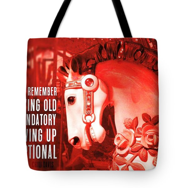 Crimson Carousel Quote Tote Bag