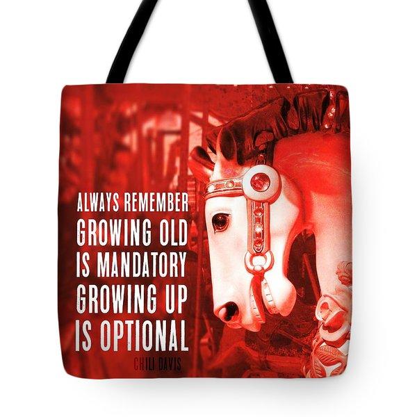 Crimson Carousel Quote Tote Bag