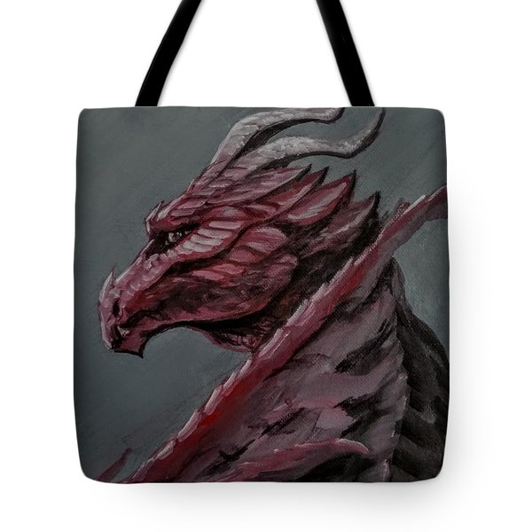 Tote Bag featuring the painting Crimson Dragon by Jennifer Hotai