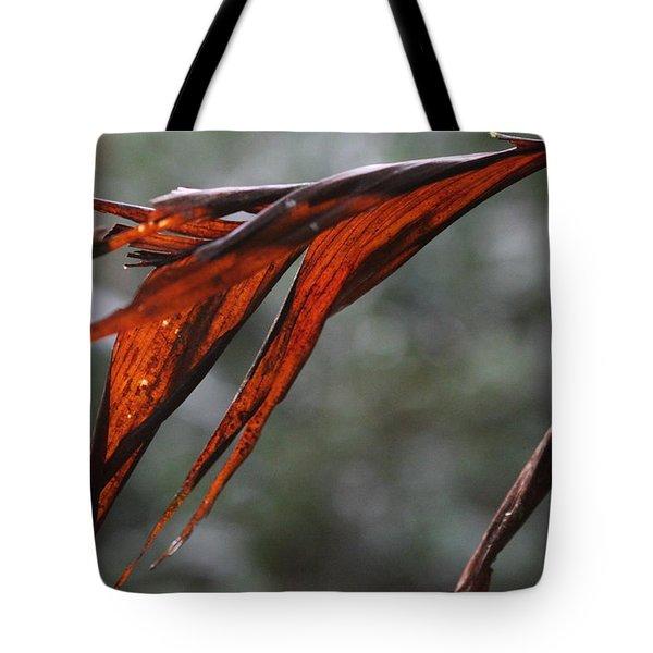Crimson Leaf In The Amazon Rainforest Tote Bag