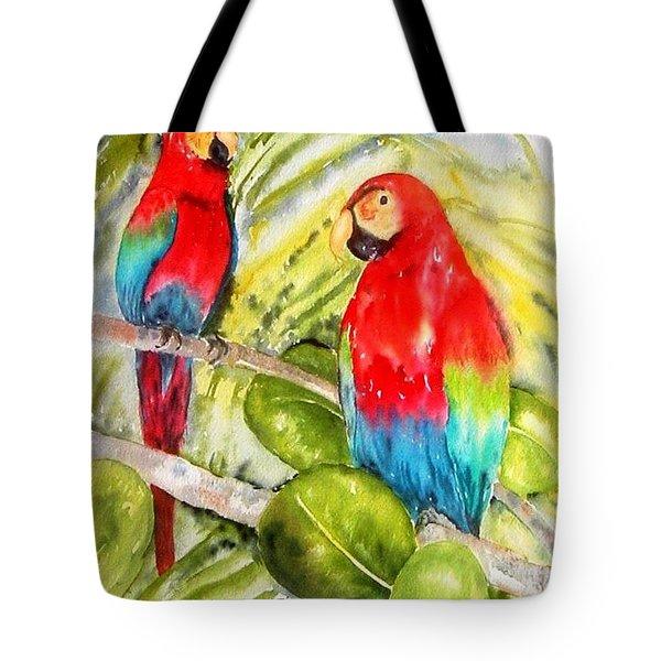 Crimson Macaws Tote Bag