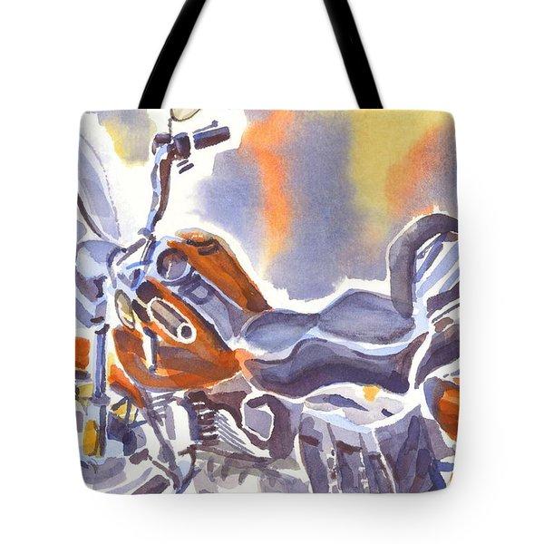 Crimson Motorcycle In Watercolor Tote Bag