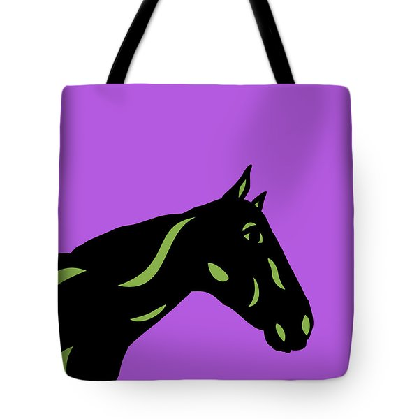 Crimson - Pop Art Horse - Black, Greenery, Purple Tote Bag