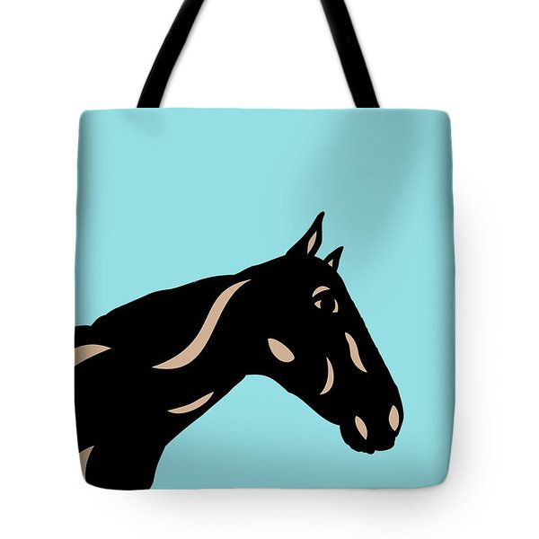 Crimson - Pop Art Horse - Black, Hazelnut, Island Paradise Blue Tote Bag