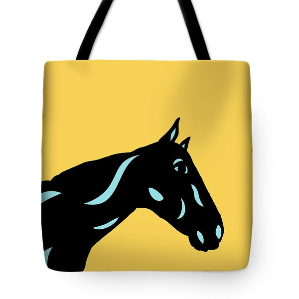 Crimson - Pop Art Horse - Black, Island Paradise Blue, Primrose Yellow Tote Bag