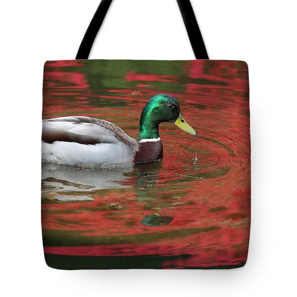 Tote Bag featuring the photograph Crimson Reflections by Elvira Butler