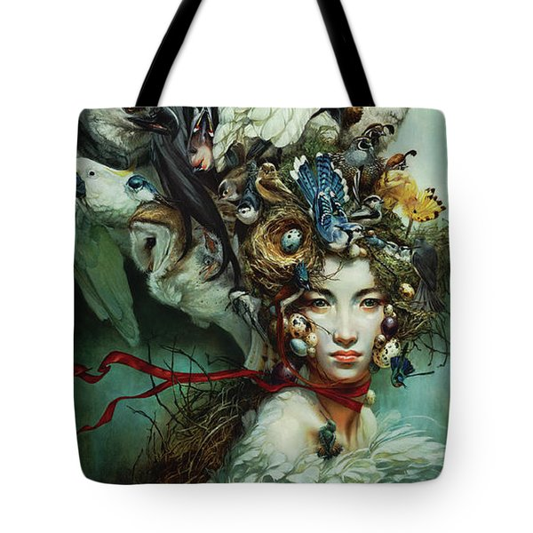 Crimson Ribbon Tote Bag by Heather Theurer