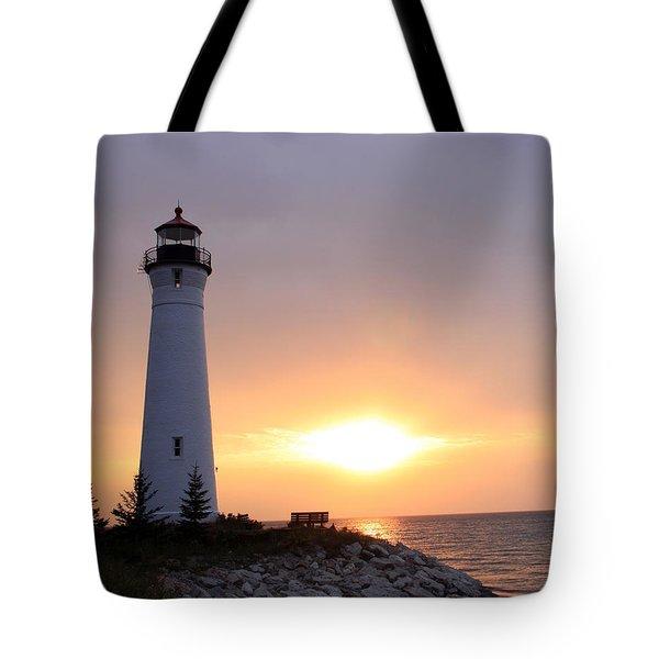 Crisp Point Lighthouse At Sunset Tote Bag
