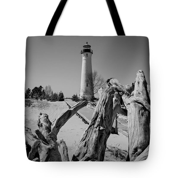 Crisp Point Lighthouse With Driftwood Tote Bag