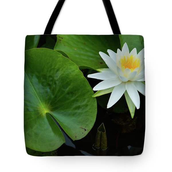 Tote Bag featuring the photograph Crisp White And Yellow Lily by Dennis Dame