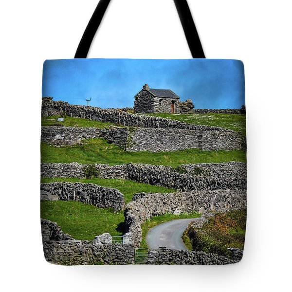 Tote Bag featuring the photograph Criss-crossed Stone Walls Of Inisheer by James Truett