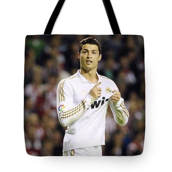 Cristiano Ronaldo 4 Tote Bag by Rafa Rivas