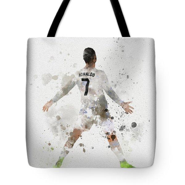 Cristiano Ronaldo Tote Bag by Rebecca Jenkins