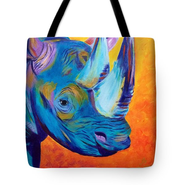 Critically Endangered Black Rhino Tote Bag