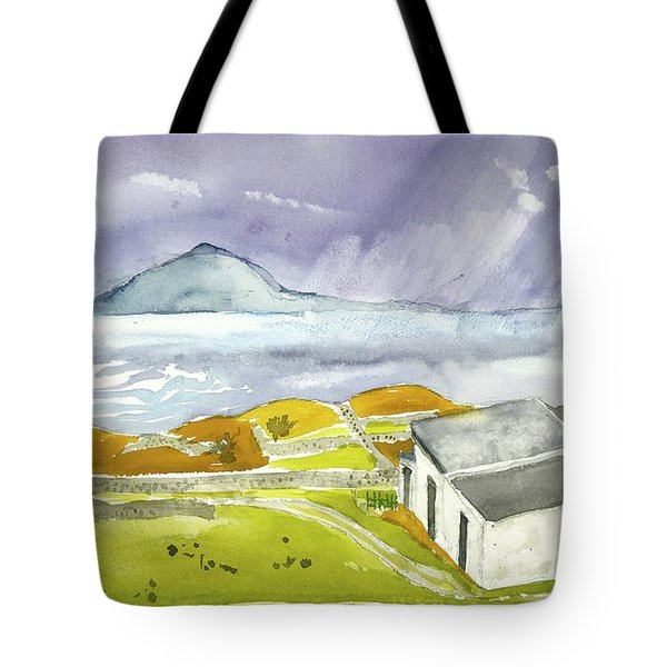 Croagh Patrick And Purple Sky Tote Bag