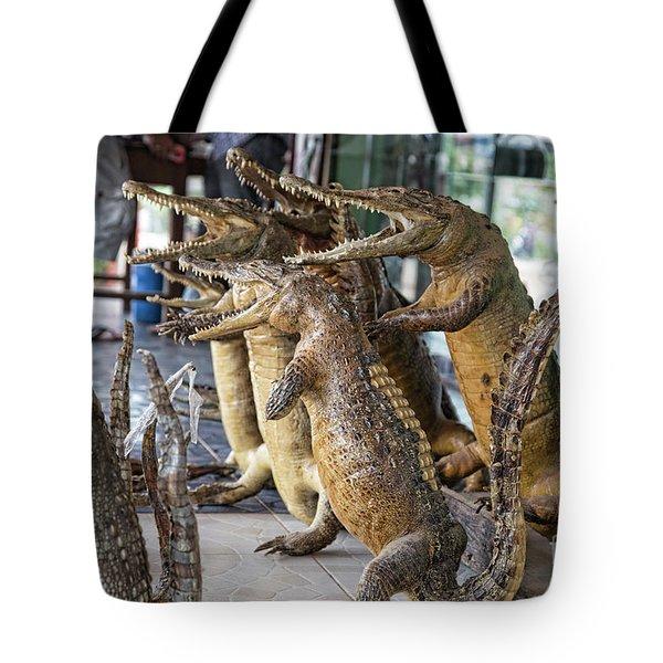 Crocodiles Rock  Tote Bag by Chuck Kuhn