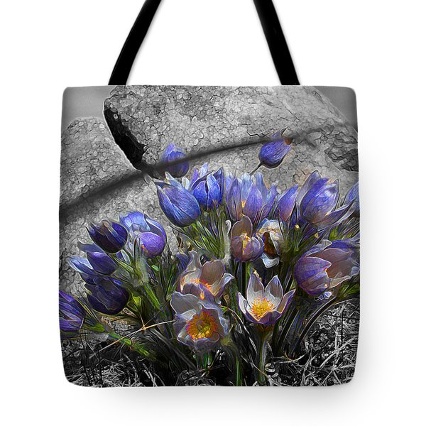 Tote Bag featuring the digital art Crocus - Between A Rock And You by Stuart Turnbull