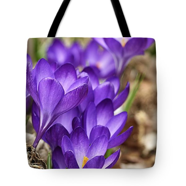 Tote Bag featuring the photograph Crocuses by Larry Ricker