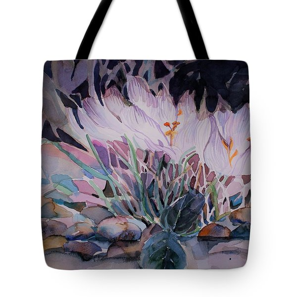 Tote Bag featuring the painting Crocuses by Mindy Newman