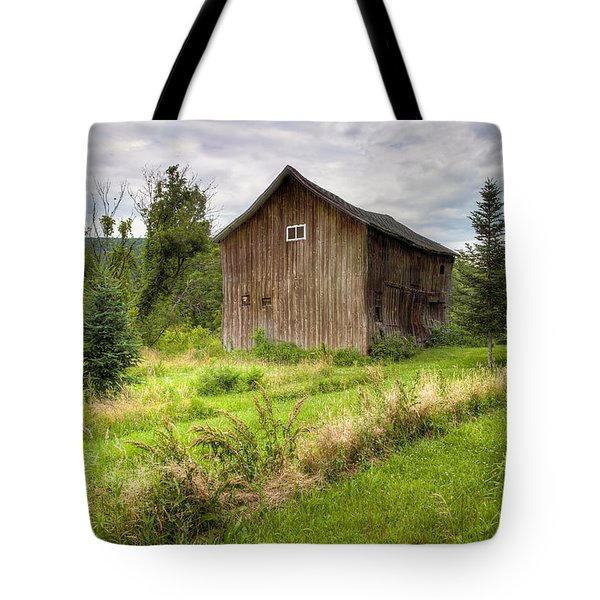 Tote Bag featuring the photograph Crooked Old Barn On South 21 - Finger Lakes New York State by Gary Heller