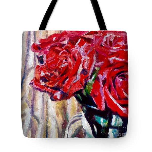 Crimson  Petals Tote Bag by Rebecca Glaze