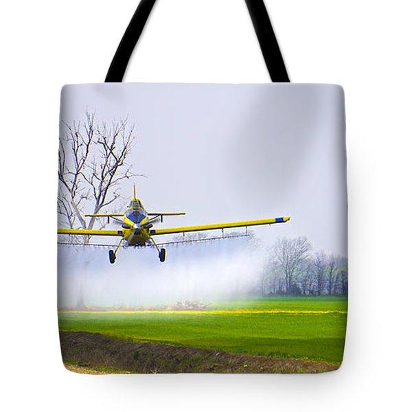 Precision Flying - Crop Dusting 1 Of 2 Tote Bag by Charlie Brock