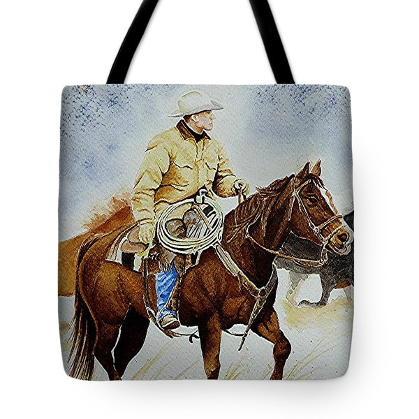 Cropped Ranch Rider Tote Bag by Jimmy Smith