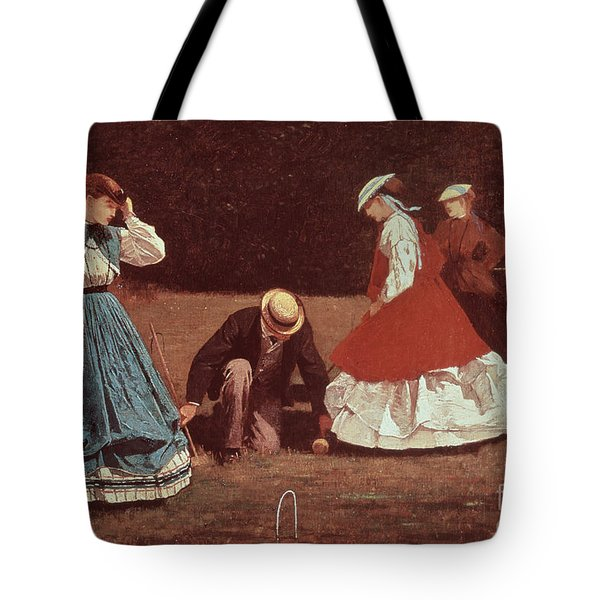 Croquet Scene Tote Bag by Winslow Homer