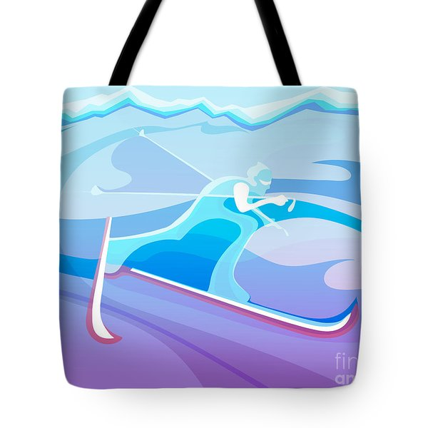 Cross County Skier Abstract Tote Bag