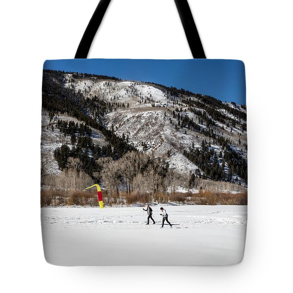 Cross-county Skiers Outside Aspen Tote Bag