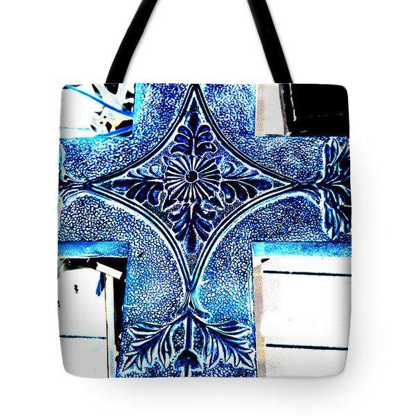 Cross In Blue Tote Bag