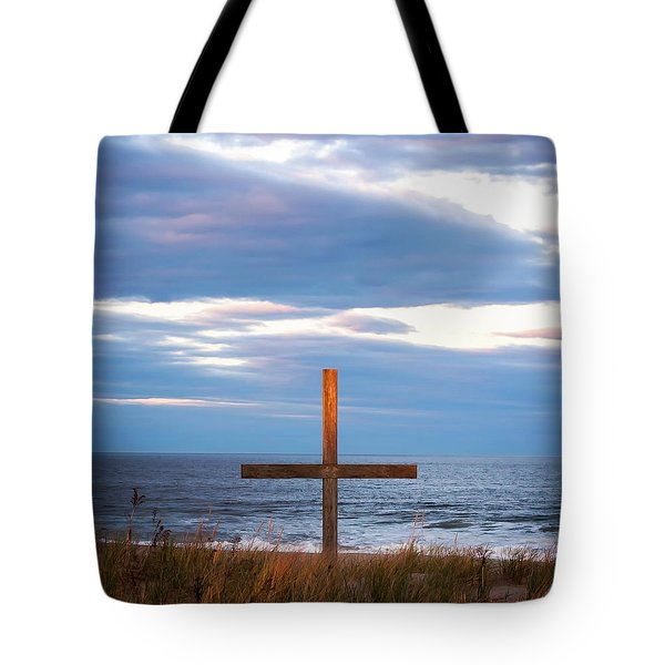 Cross Light Square Tote Bag by Terry DeLuco
