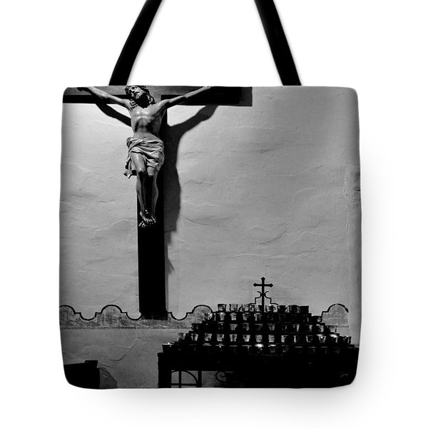 Tote Bag featuring the photograph Cross Mission San Diego De Alcala by Christine Till
